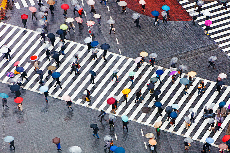 Asia, Japan, Tokyo, Shibuya, Shibuya Crossing - crowds of people crossing the famous crosswalks at the centre of Shibuyas fashionable shopping and entertainment district - elevated view by Gavin Hellier for Stocksy United