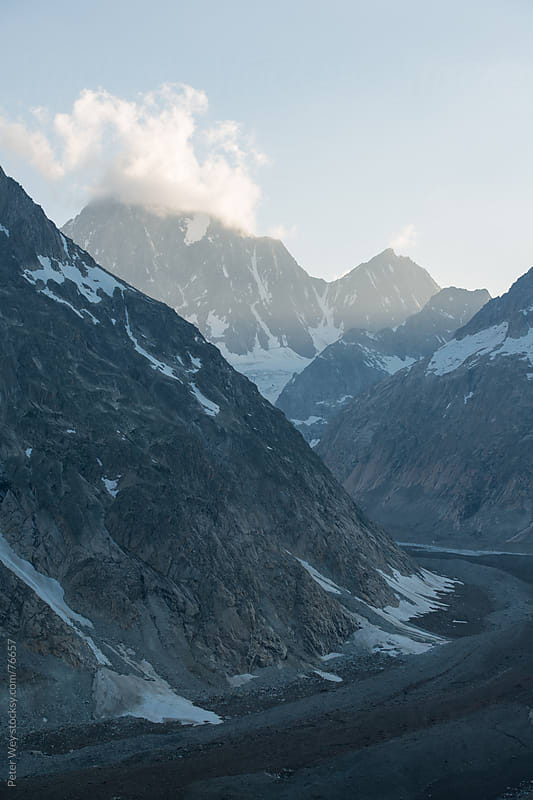 Finsteraarhorn mountain peak with Finsteraar glacier  by Peter Wey for Stocksy United