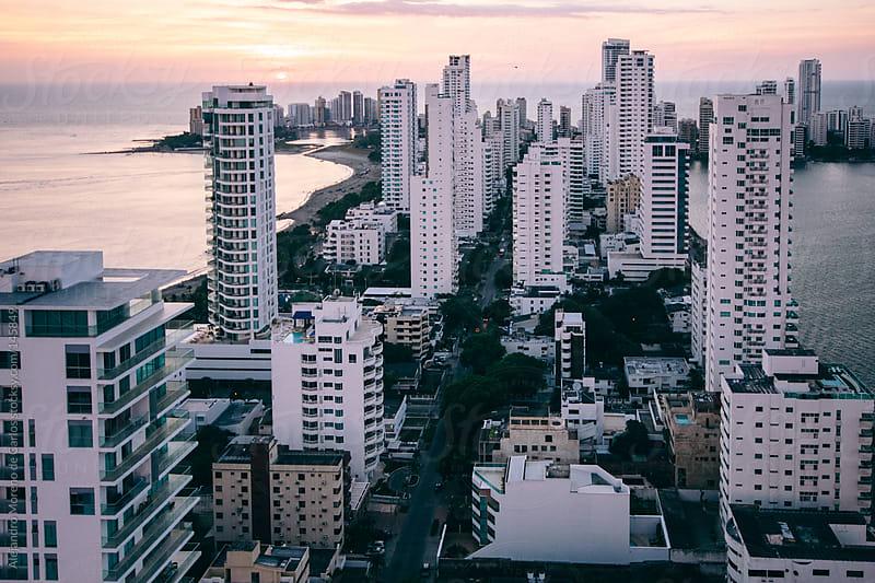 Cartagena de Indias city view with white buildings - skyscrappers, Colombia by Alejandro Moreno de Carlos for Stocksy United