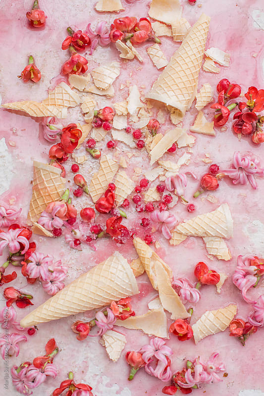 Ice cream cones with flower buds by Marija Savic for Stocksy United