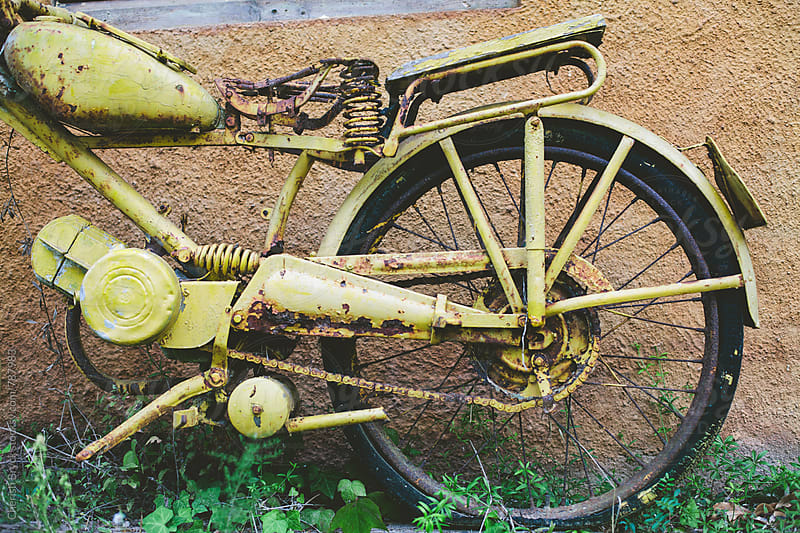 Old yellow motor bike. by Cherish Bryck for Stocksy United