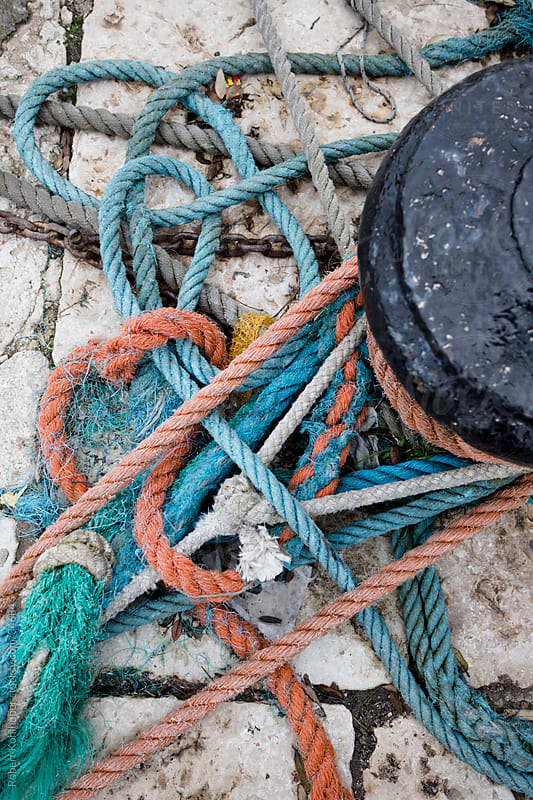 Colorful old frayed boat ropes by Robert Kohlhuber for Stocksy United