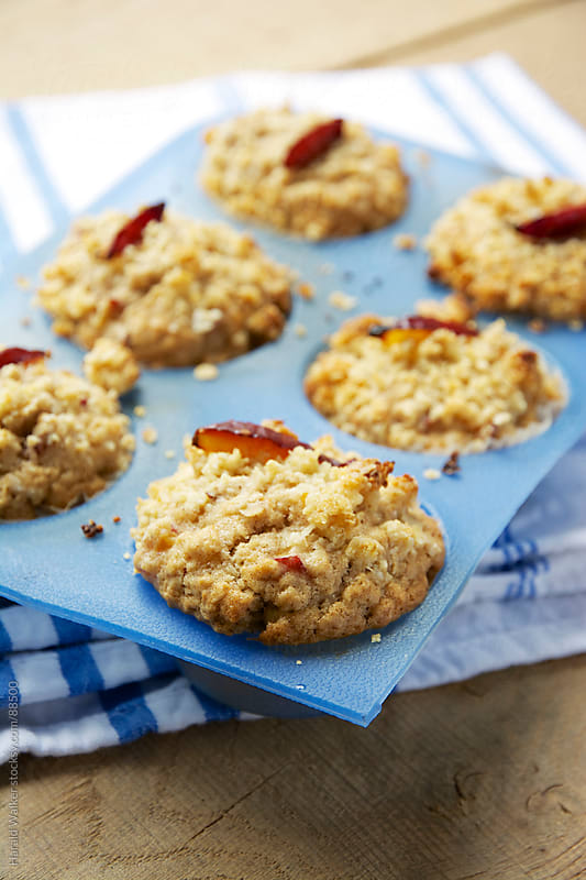 Streusel Topped Almond Plum Muffins by Harald Walker for Stocksy United