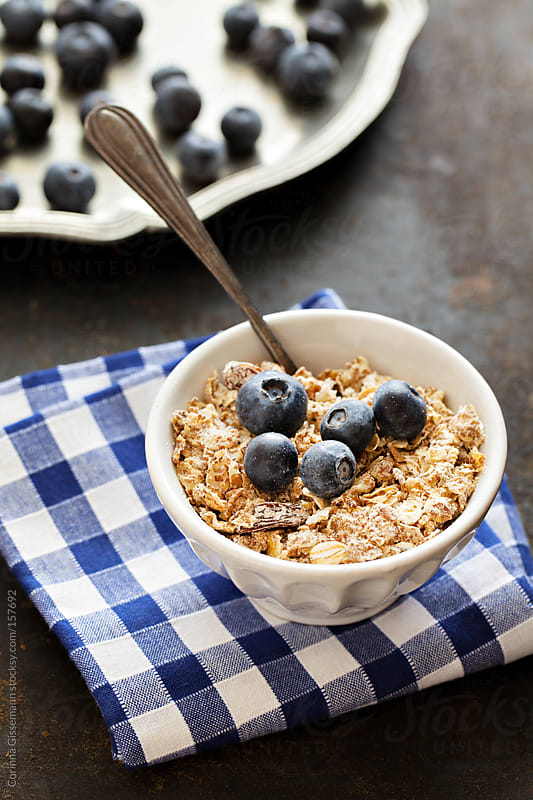 Cereals with blueberries  by Corinna Gissemann for Stocksy United