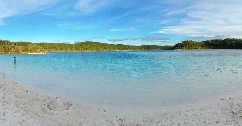 freshwater lake on Fraser Island, with white sand by Gillian Vann for Stocksy United