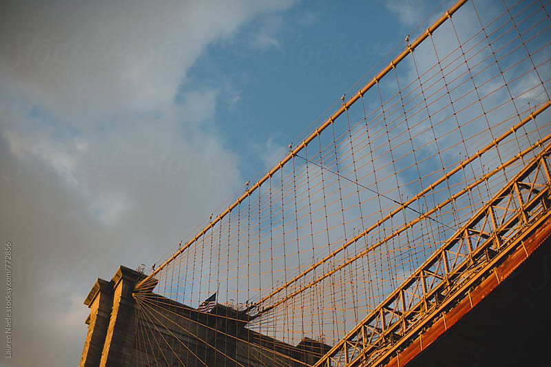Brooklyn Bridge at sunset by Lauren Naefe for Stocksy United