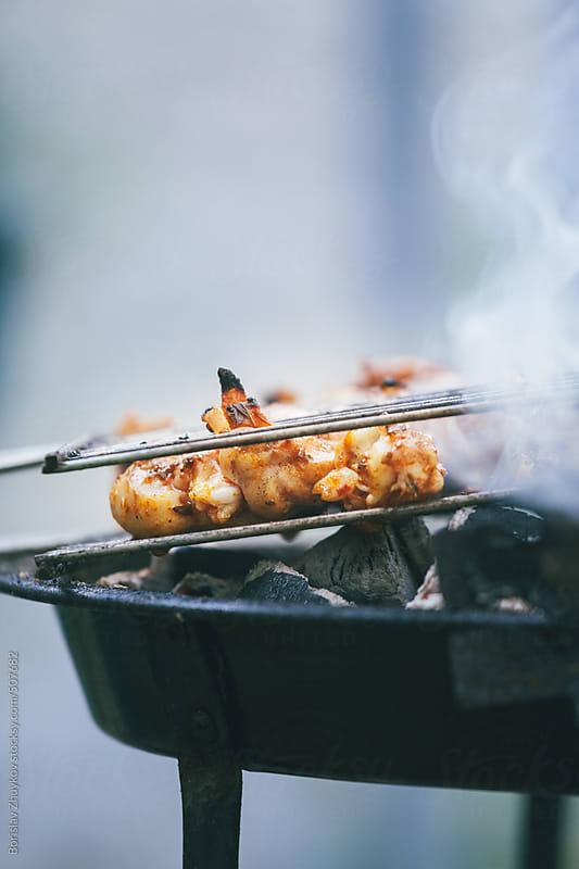 Crispy Chicken Meat Smoked On Grill by Borislav Zhuykov for Stocksy United
