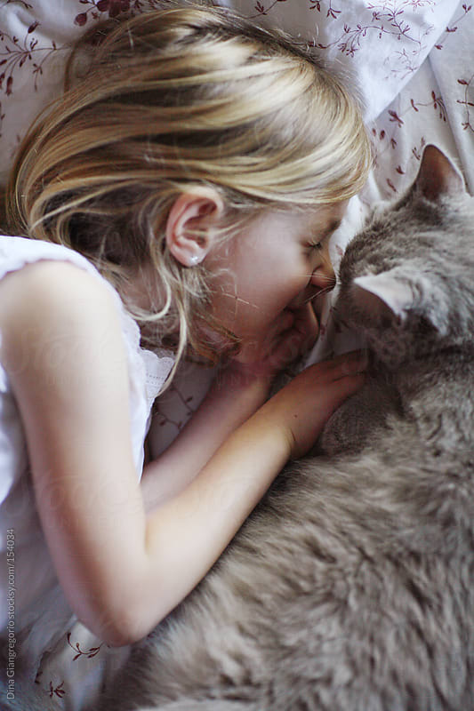 Girl laying on bed facing gray cat by Dina Giangregorio for Stocksy United