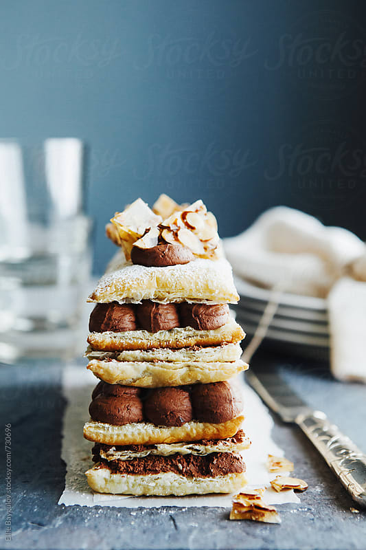 Chocolate millefeuille by Ellie Baygulov for Stocksy United