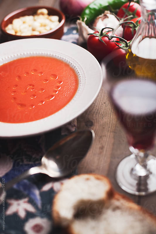 Spanish Gazpacho tomato soup. by mee productions for Stocksy United