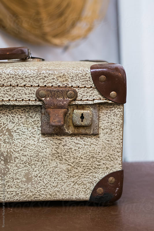 Detail of old leather suitcase by Rowena Naylor for Stocksy United