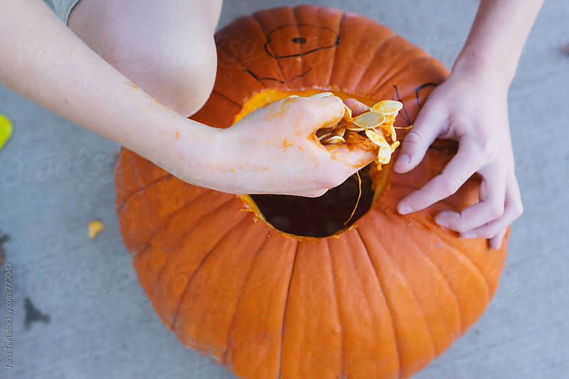 series of boy carving halloween pumpkin by Tana Teel for Stocksy United