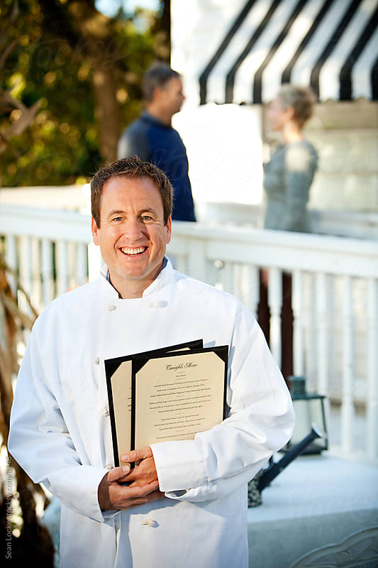 Shop: Chef Standing Outside Restaurant by Sean Locke for Stocksy United