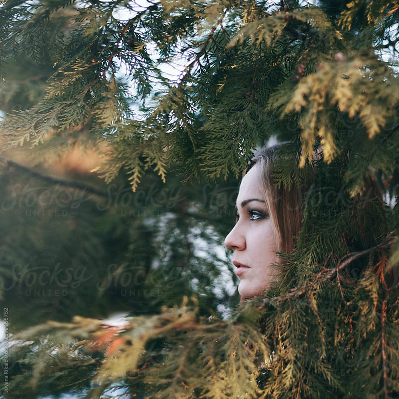 Girl watching amongst the fir by Jovana Rikalo for Stocksy United