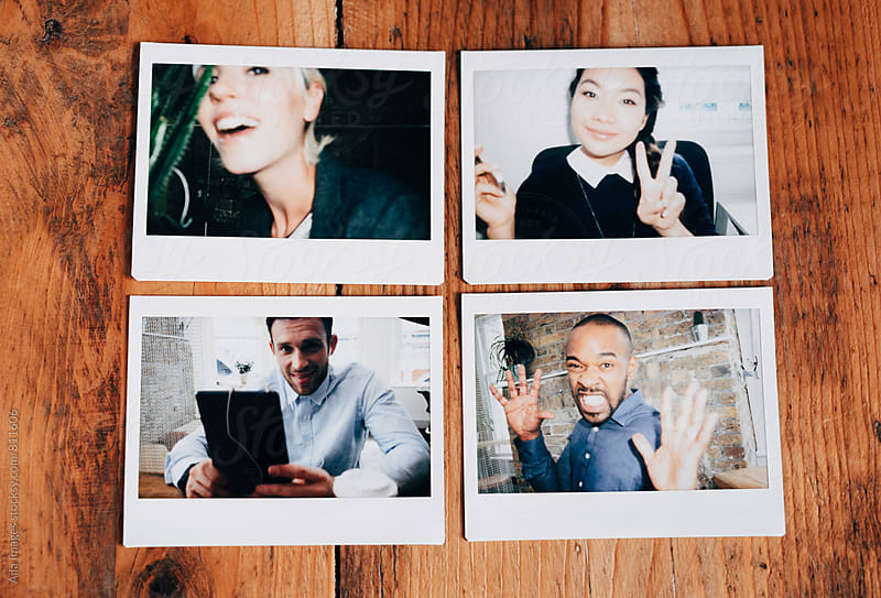 Polaroids of business team portraits at work by Aila Images for Stocksy United