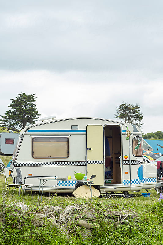 Vintage Caravan on a Beach in North Spain by Oscar Parasiego for Stocksy United
