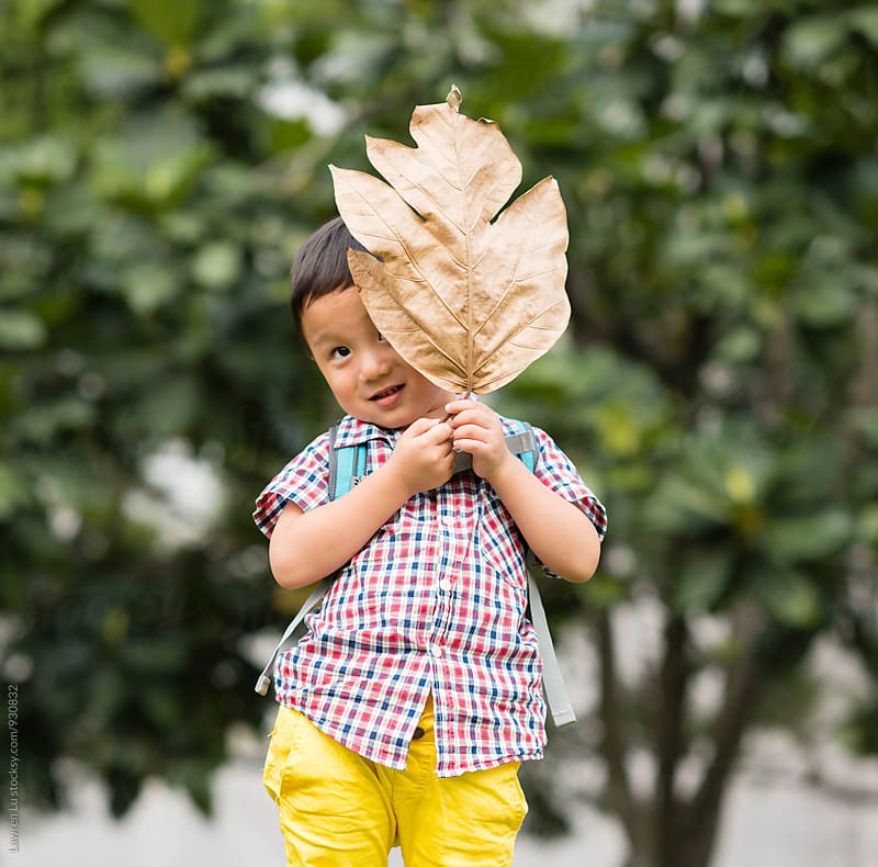 Cute smiling Asian boy hiding his face behind dry leaf by Lawren Lu for Stocksy United