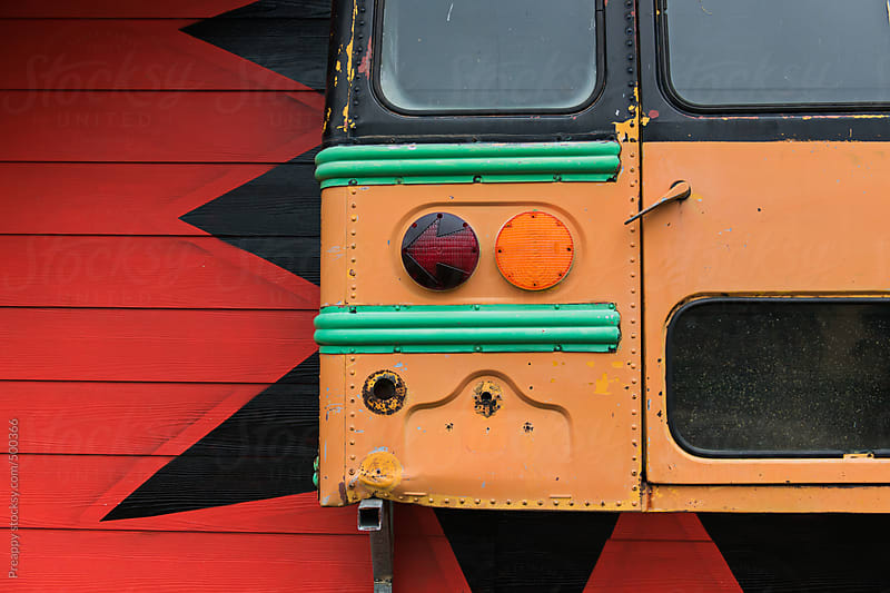 Old bus through wall by Preappy for Stocksy United