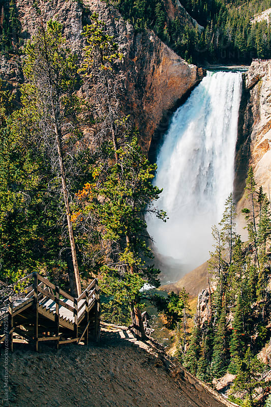 Staircase Near Lower Yellowstone Waterfall Along Yellowstone River  by Luke Mattson for Stocksy United