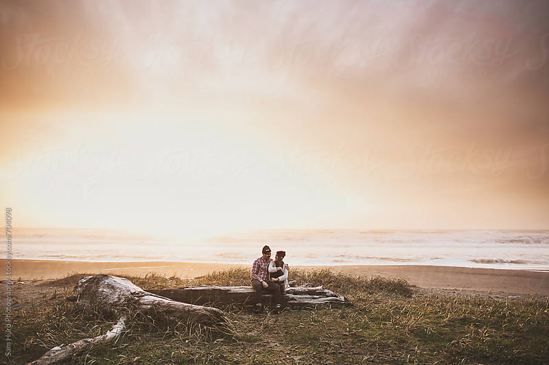 couple sitting on driftwood at beach by Sam Hurd Photography for Stocksy United
