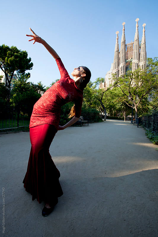 Flamenco dancer performing infront of Sagrada Familia. Barcelona. by Hugh Sitton for Stocksy United