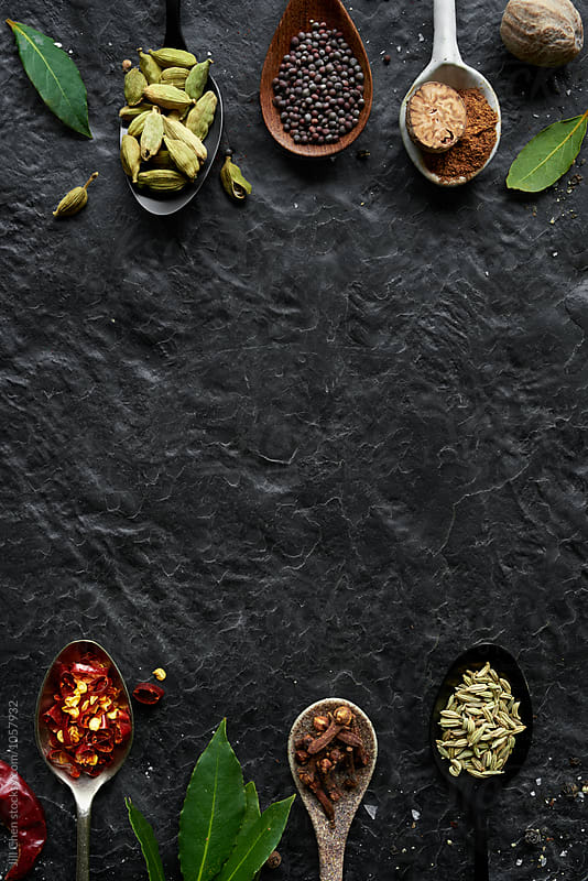 Food design background with spices  by Jill Chen for Stocksy United