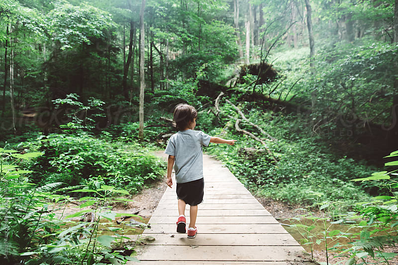 child hikes on path in woods by Maria Manco for Stocksy United
