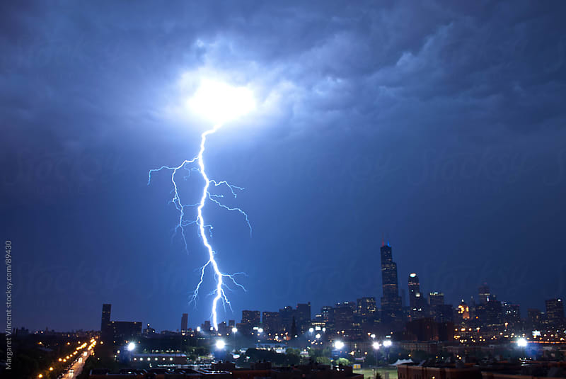 Lightning over the city of Chicago by Margaret Vincent for Stocksy United