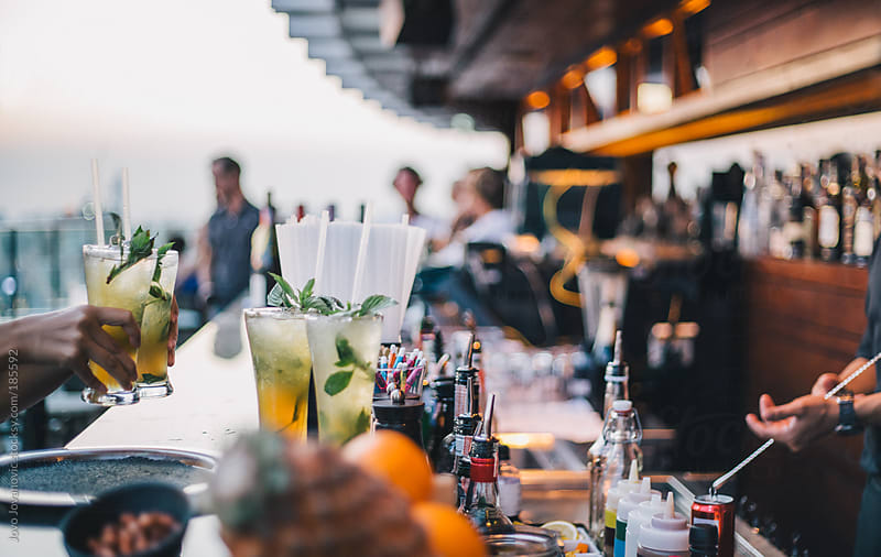 Rooftop lounge - sky bar in the city by Jovo Jovanovic for Stocksy United