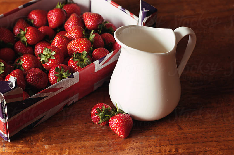 British Strawberries and Cream by Helen Rushbrook for Stocksy United