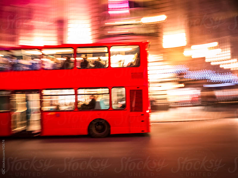 Double-Decker bus running in London by GIC for Stocksy United