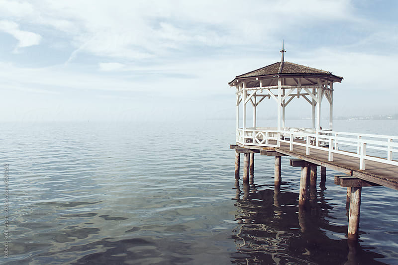 Small pier with pavilion in Bregenz, Austria by Robert Kohlhuber for Stocksy United