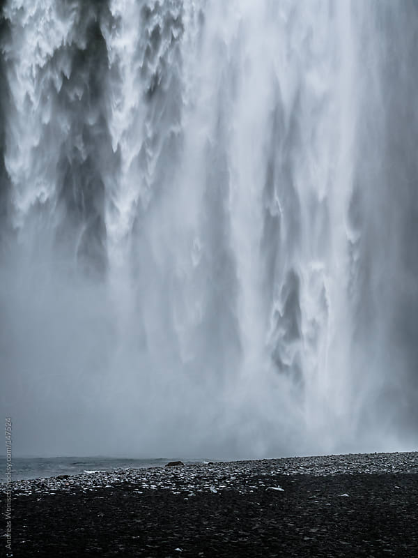 Closeup of Huge Skogafoss Waterfall by Andreas Wonisch for Stocksy United