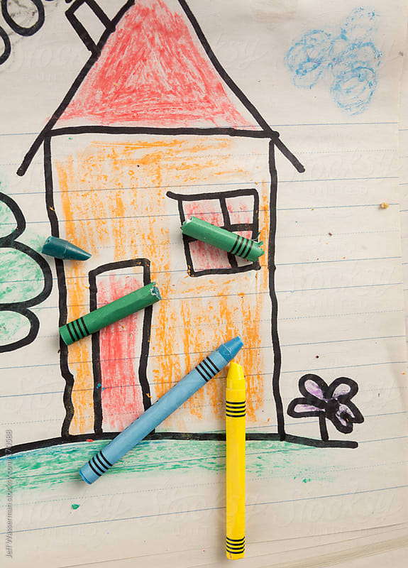 Child's Drawing of House with Crayone by Jeff Wasserman for Stocksy United