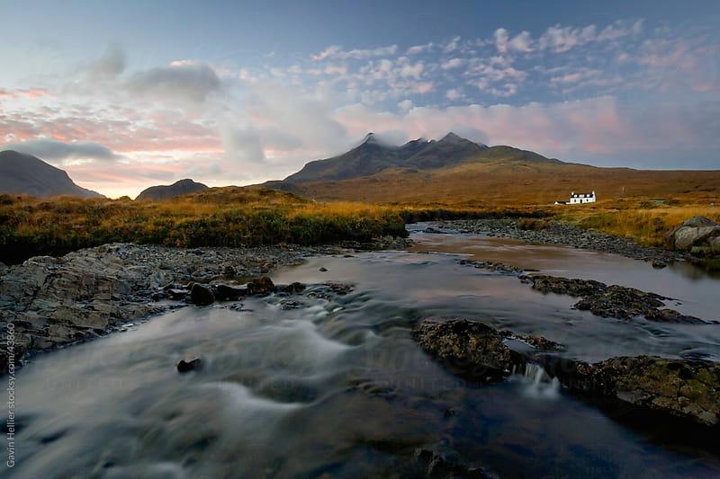 Whitewashed cottage on desolate moorland near Sligachan, Isle of Skye, Highland, Scotland, United Kingdom, Europe by Gavin Hellier for Stocksy United