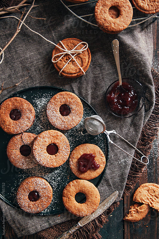 Homemade delicious cookies with jam by Nataša Mandić for Stocksy United