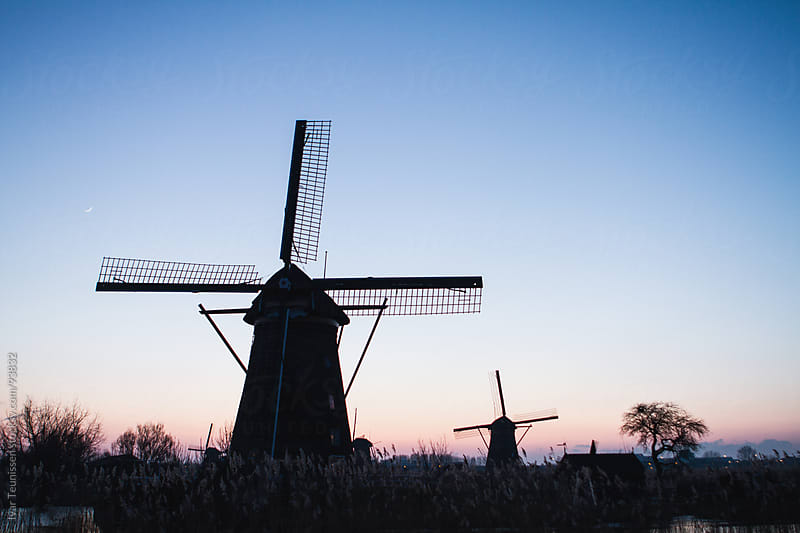 Windmills at Kinderdijk in the evening by Ivar Teunissen for Stocksy United