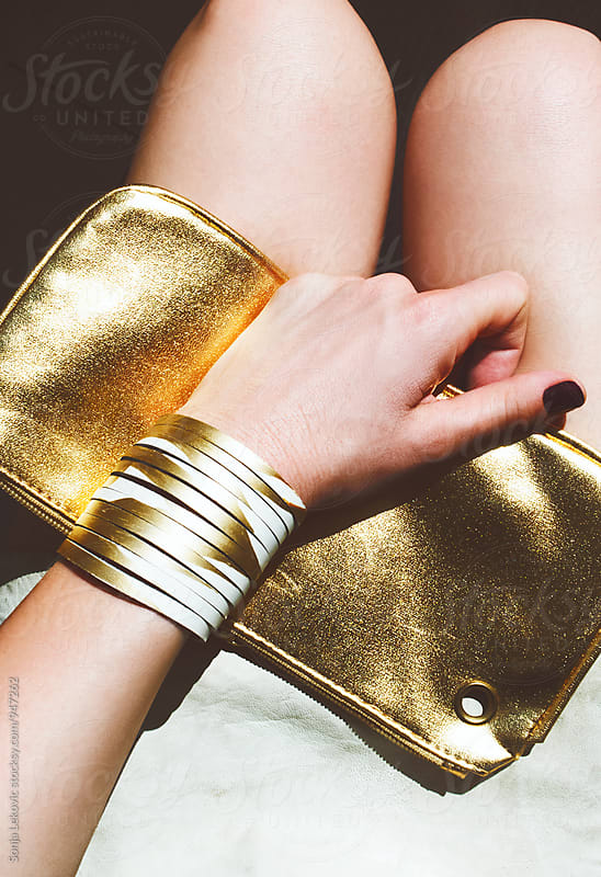 golden bracelet and purse by Sonja Lekovic for Stocksy United