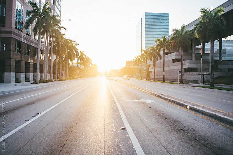 Empty Downtown Boulevard at Sunset by Stephen Morris for Stocksy United