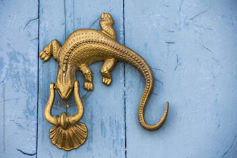 Lizard metal knocker on blue door by Alejandro Moreno de Carlos for Stocksy United