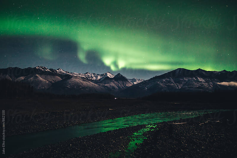 Glenn Highway Aurora Nights by Jake Elko for Stocksy United