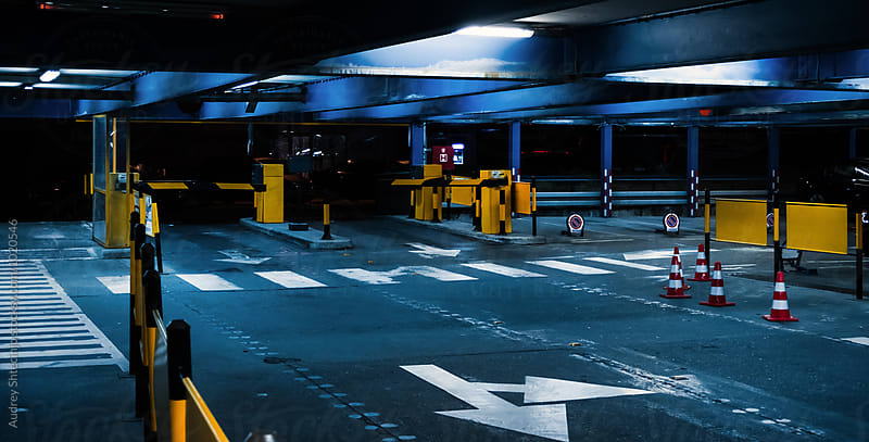 Garage /parking in the night by Marko Milanovic for Stocksy United