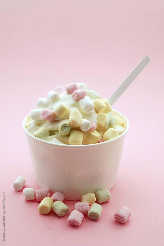 Frozen Yoghurt with marshmallows in Pastel Colors by Jasmin Awad for Stocksy United