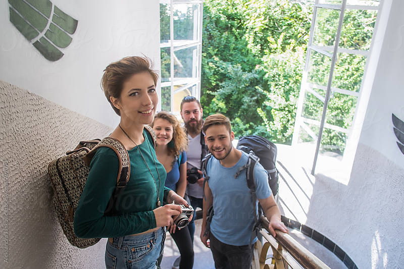 Group of Young Tourists Searching for the Hostel by Aleksandra Jankovic for Stocksy United