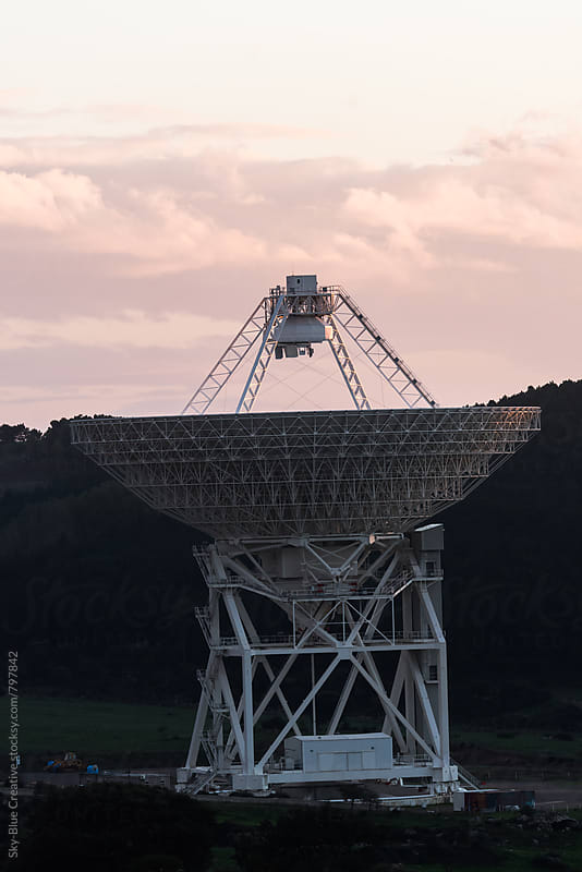Large Radio Telescope at sunset by Luca Pierro for Stocksy United