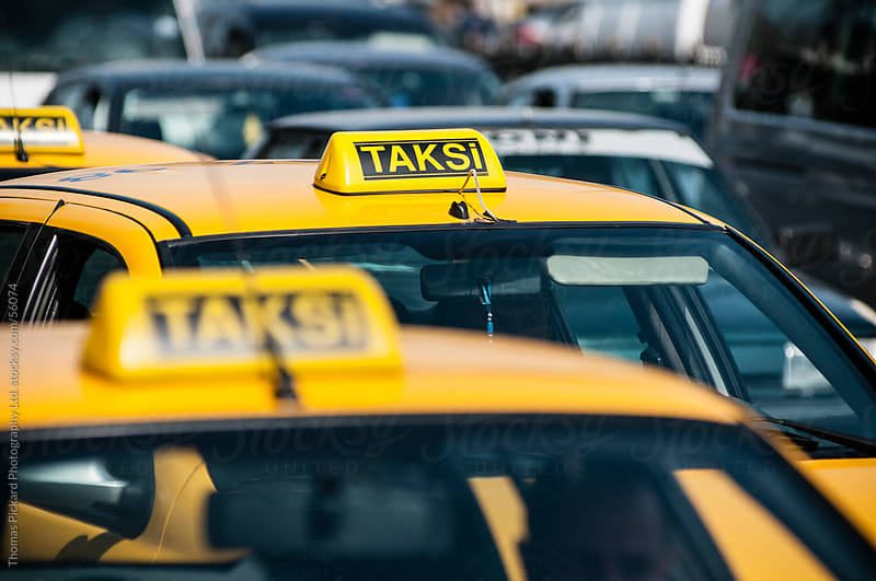 Taxi (Taksi) sign on a taxi, Istanbul, Turkey. by Thomas Pickard for Stocksy United