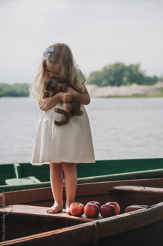 Little girl with rabbit by Milles Studio for Stocksy United