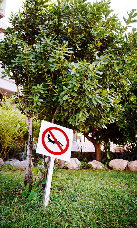 Prohibited sign. Lounge chair not allowed by J.R. PHOTOGRAPHY for Stocksy United