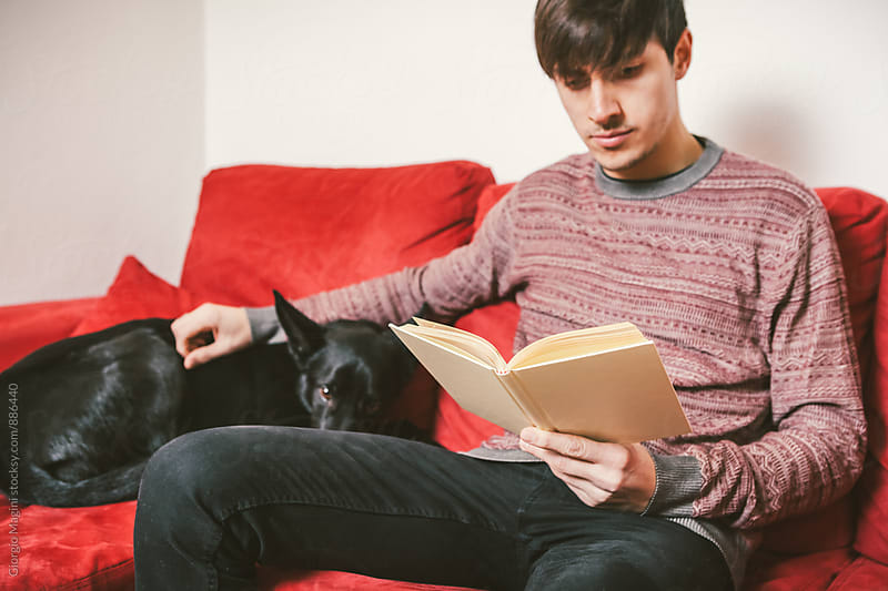 Young Man with Dog Reading a Book on a Sofa at Home by Giorgio Magini for Stocksy United