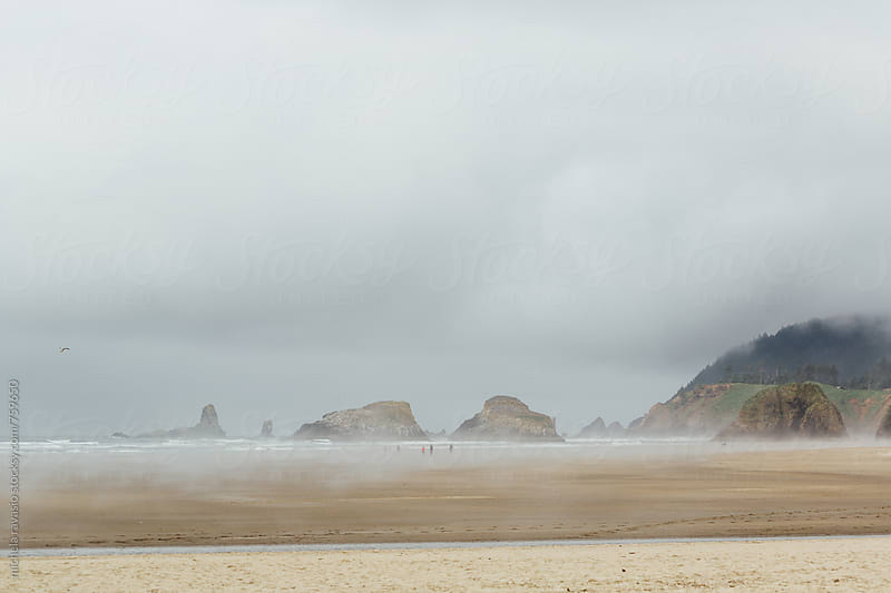 Seascape of Cannon Beach in a misty morning by michela ravasio for Stocksy United